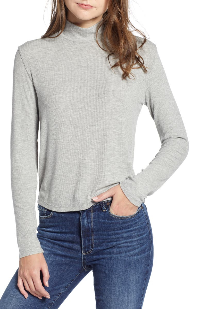SPLENDID Mock Neck Tee, Main, color, HEATHER GREY