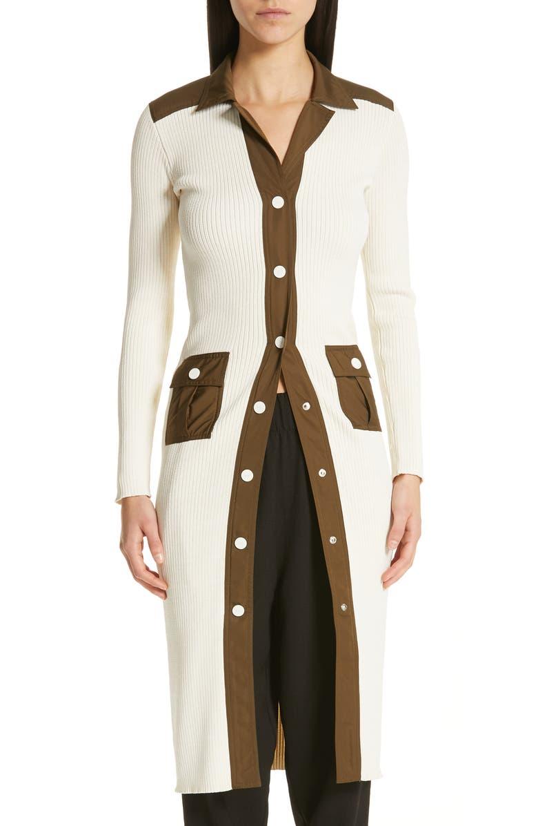GANNI Tech Knit Cardigan Sweater Dress, Main, color, 900