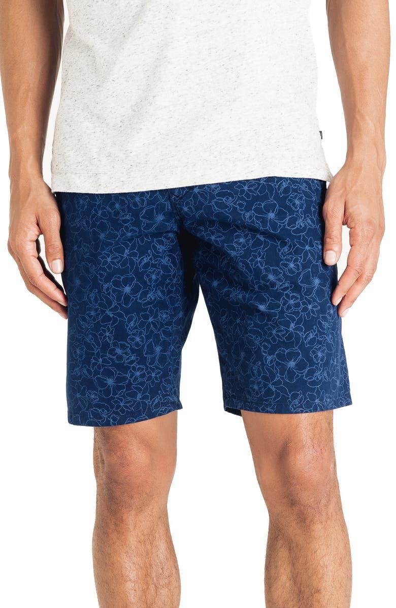 GOOD MAN BRAND Floral Stretch Cotton Shorts, Main, color, INDIGO