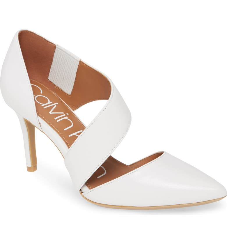 CALVIN KLEIN 'Gella' Pointy Toe Pump, Main, color, WHITE LEATHER