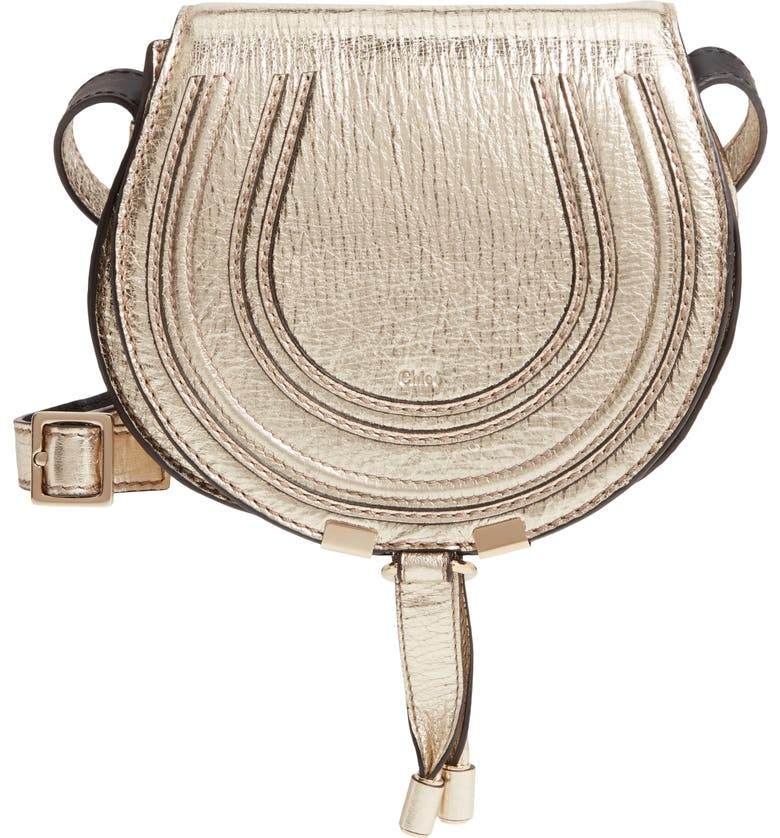 CHLOÉ Mini Marcie Metallic Leather Crossbody Bag, Main, color, GOLD