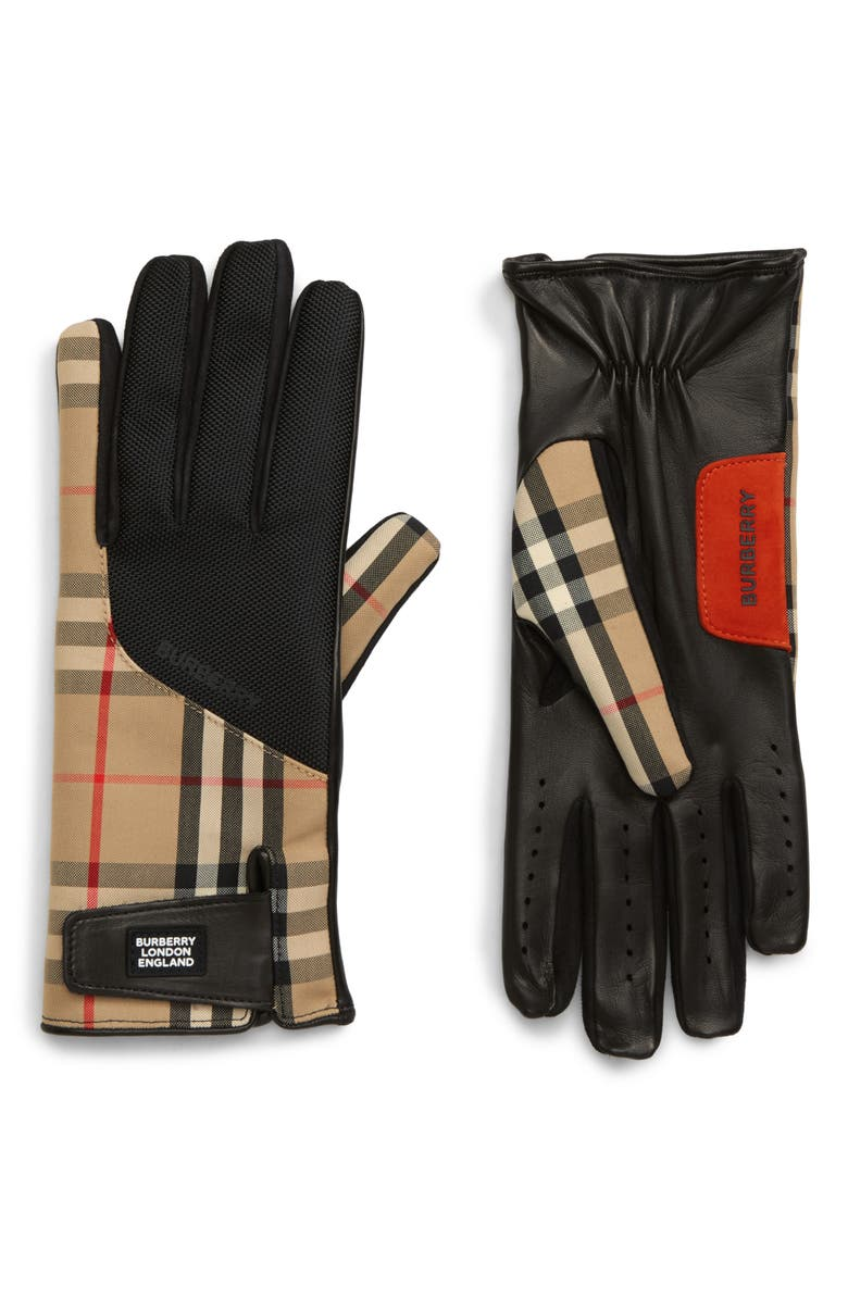 BURBERRY Check Mixed Media Gloves, Main, color, ARCHIVE BEIGE