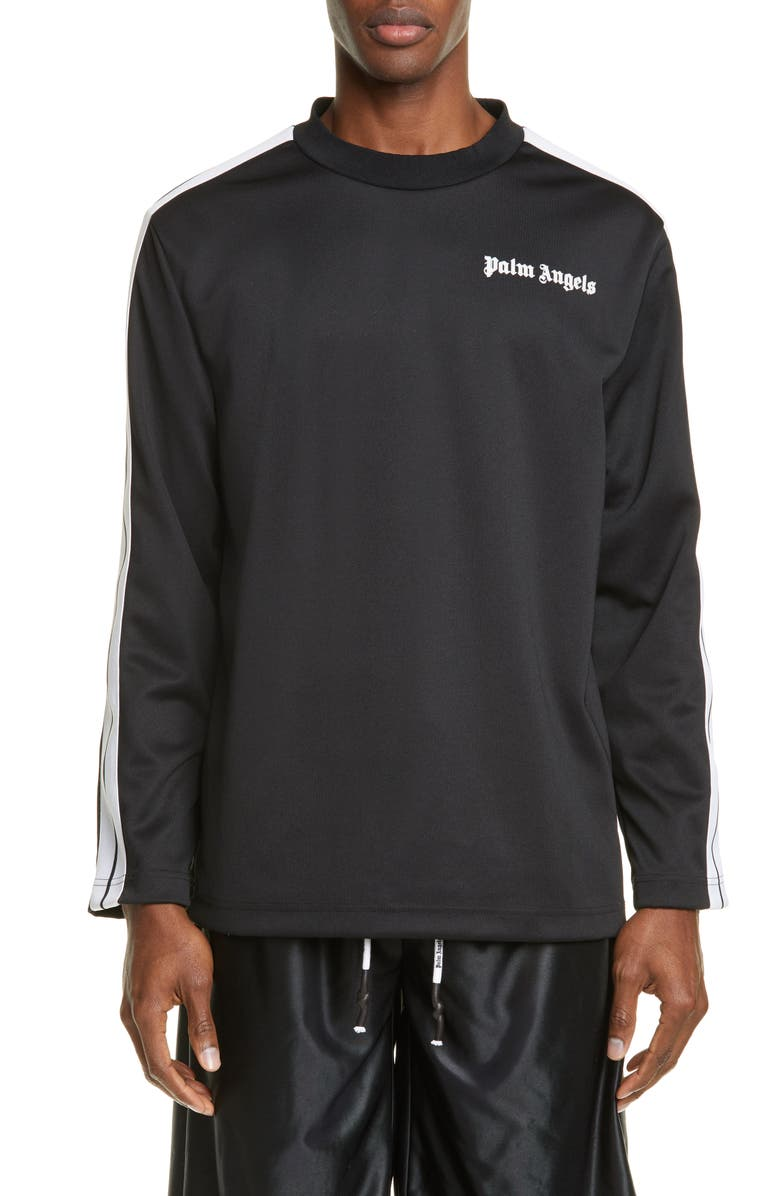 PALM ANGELS Long Sleeve Track Tee, Main, color, BLACK/WHITE