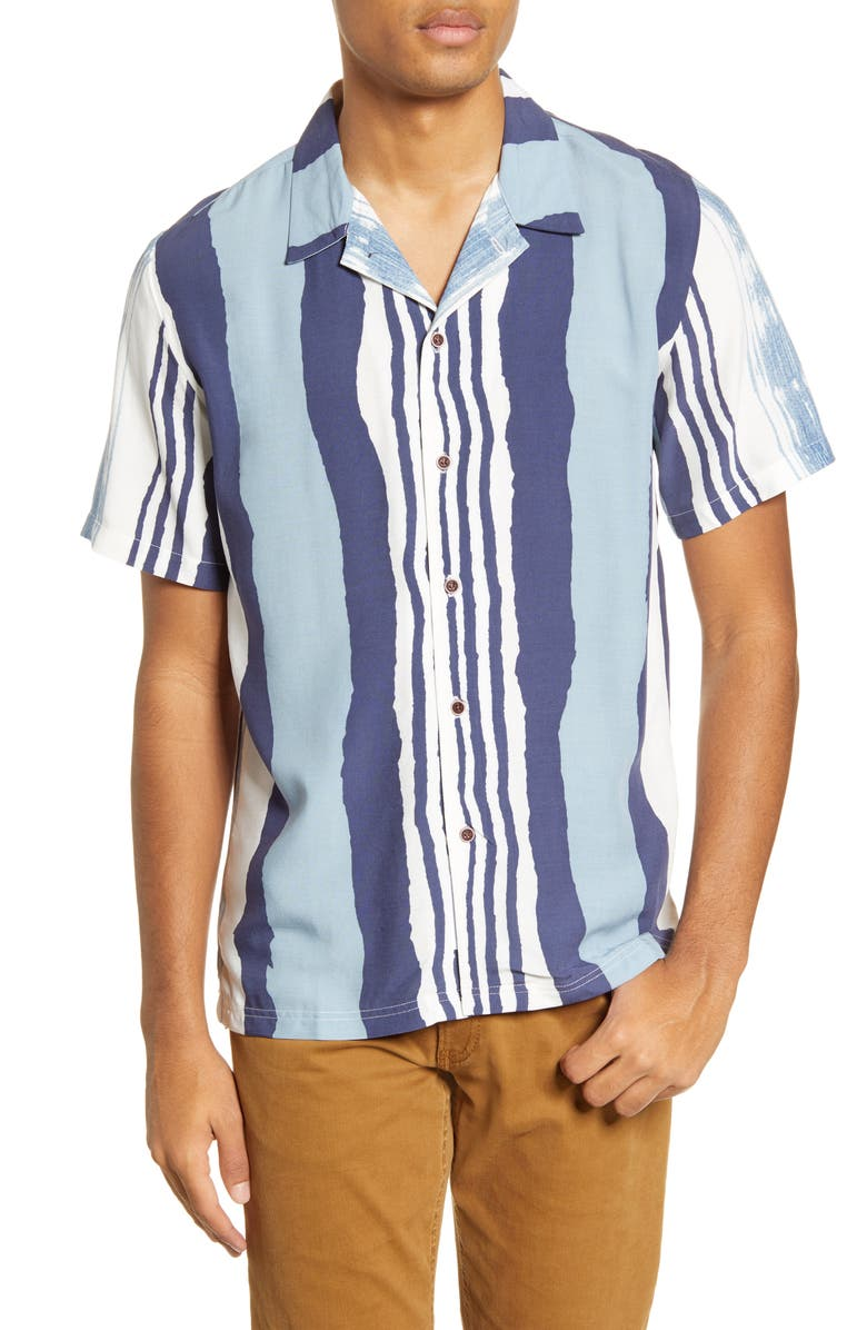 NATIVE YOUTH Print Stripe Short Sleeve Button-Up Camp Shirt, Main, color, 400