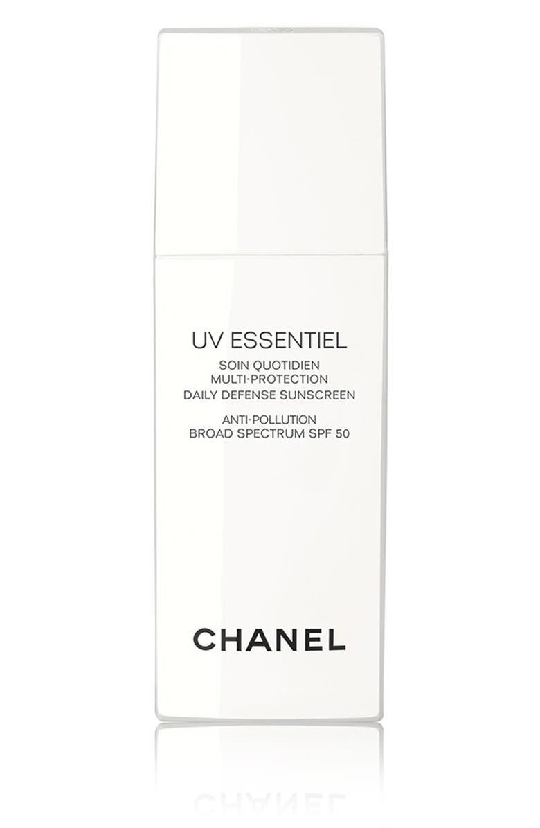 CHANEL UV ESSENTIEL <br />Multi-Protection Daily Defense Sunscreen Anti-Pollution Broad Spectrum SPF 50, Main, color, 000