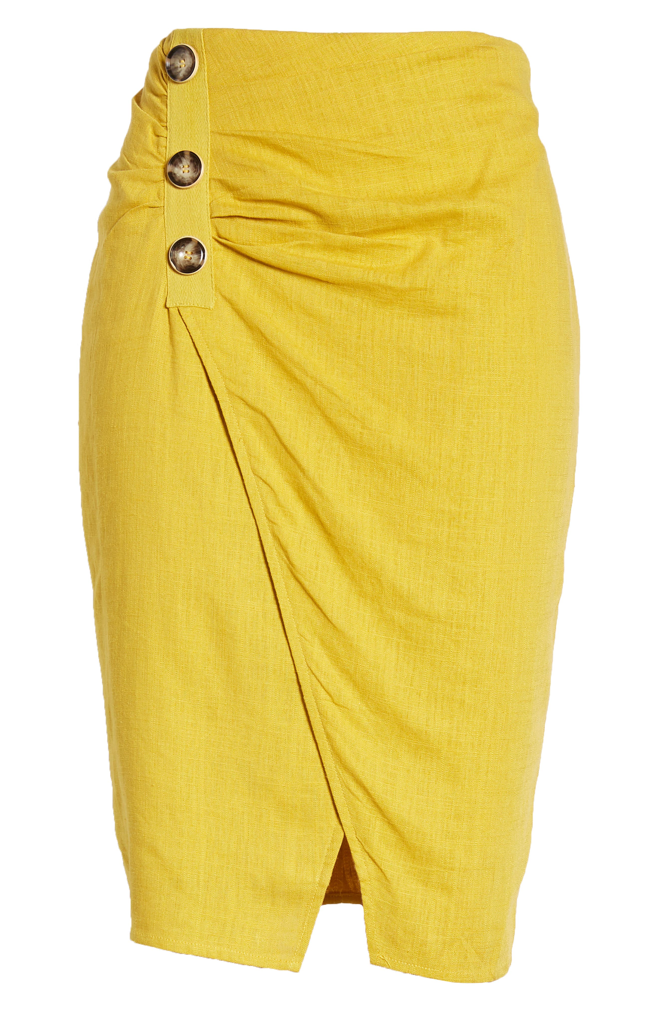 ,                             Side Button Cotton & Linen Midi Skirt,                             Alternate thumbnail 6, color,                             YELLOW