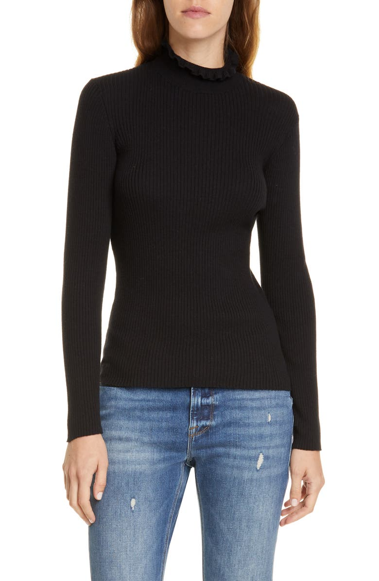 FRAME Ruffle Neck Sweater, Main, color, NOIR