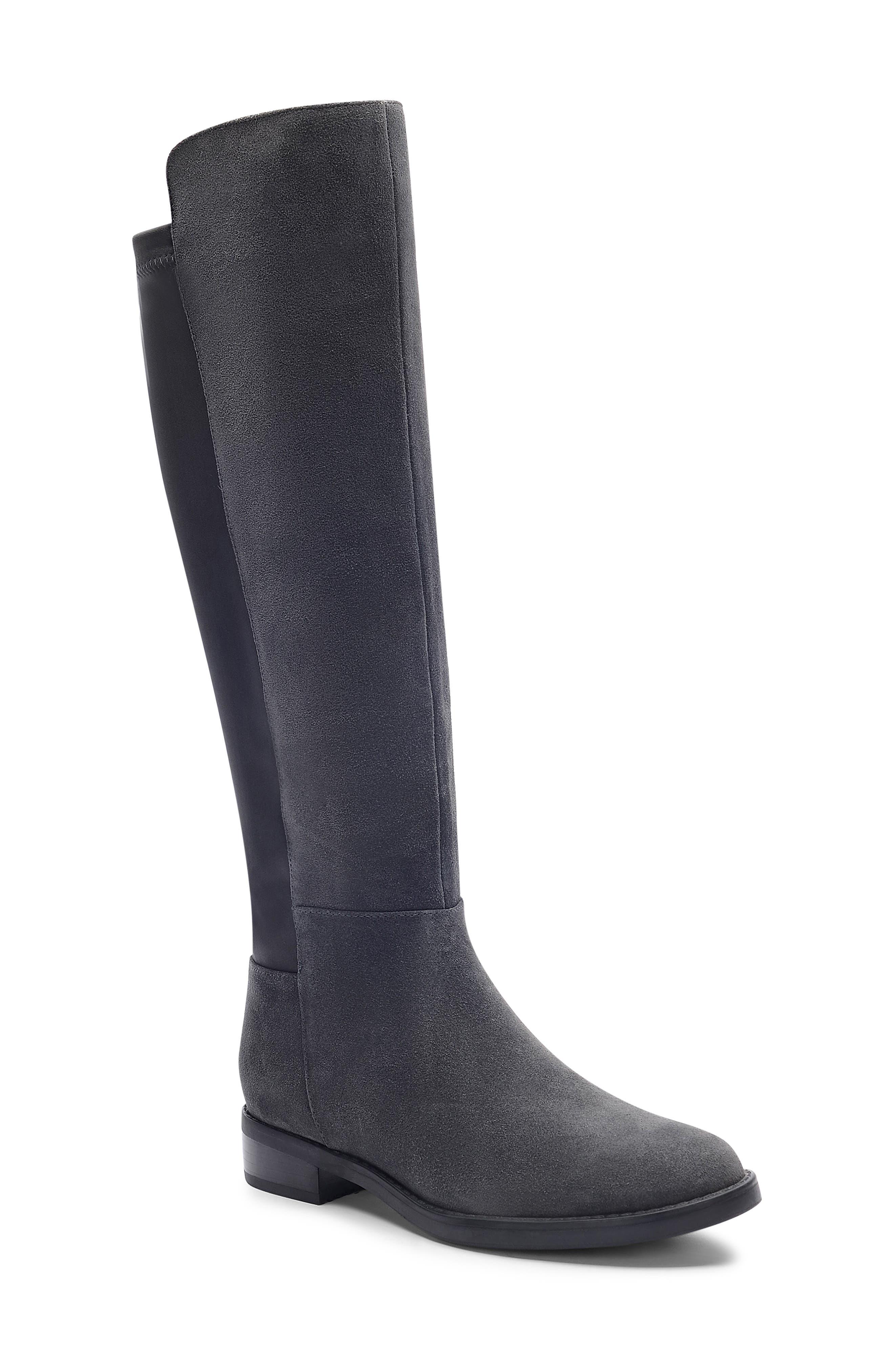 Ellie Waterproof Knee High Riding Boot, Main, color, DARK GREY SUEDE