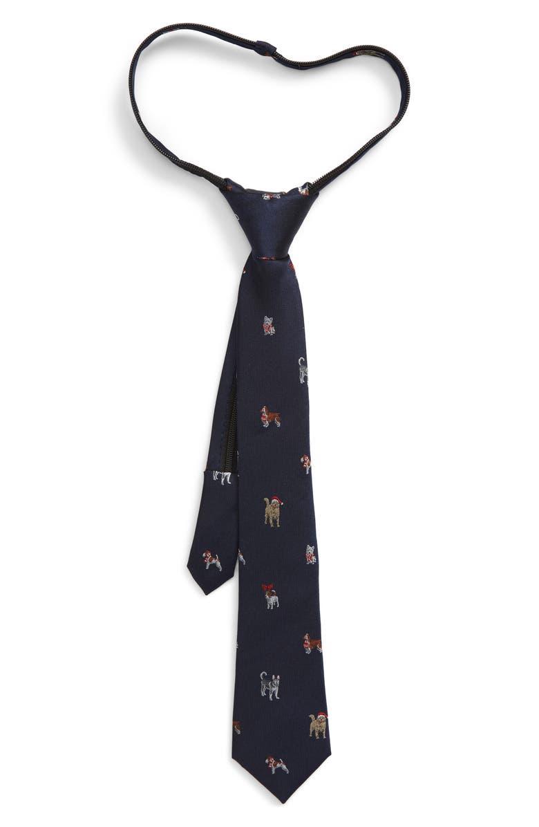 NORDSTROM Holiday Dogs Silk Zipper Tie, Main, color, NAVY