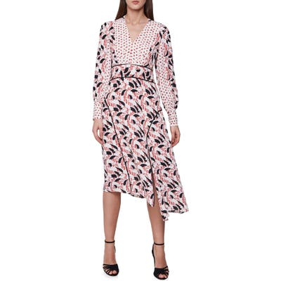 Reiss Emmi Pattern Mix Long Sleeve Asymmetrical Dress, US / 12 UK - Red