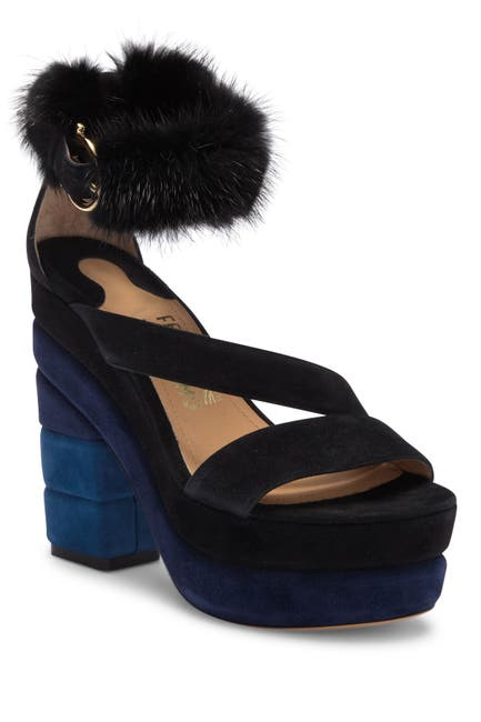 Image of Salvatore Ferragamo Lev Genuine Mink Fur Trim Suede Block Heel Sandal