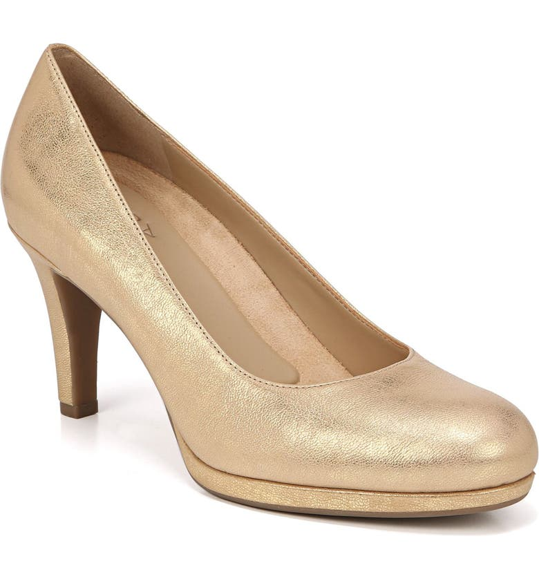 NATURALIZER 'Michelle' Almond Toe Pump, Main, color, GOLD LEATHER