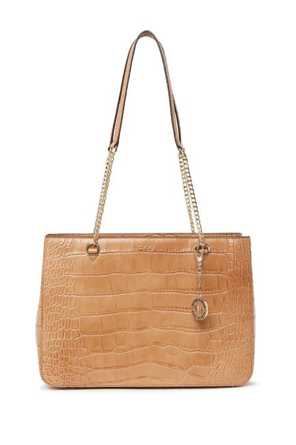 Image of DKNY Croc Embossed Leather Shopper