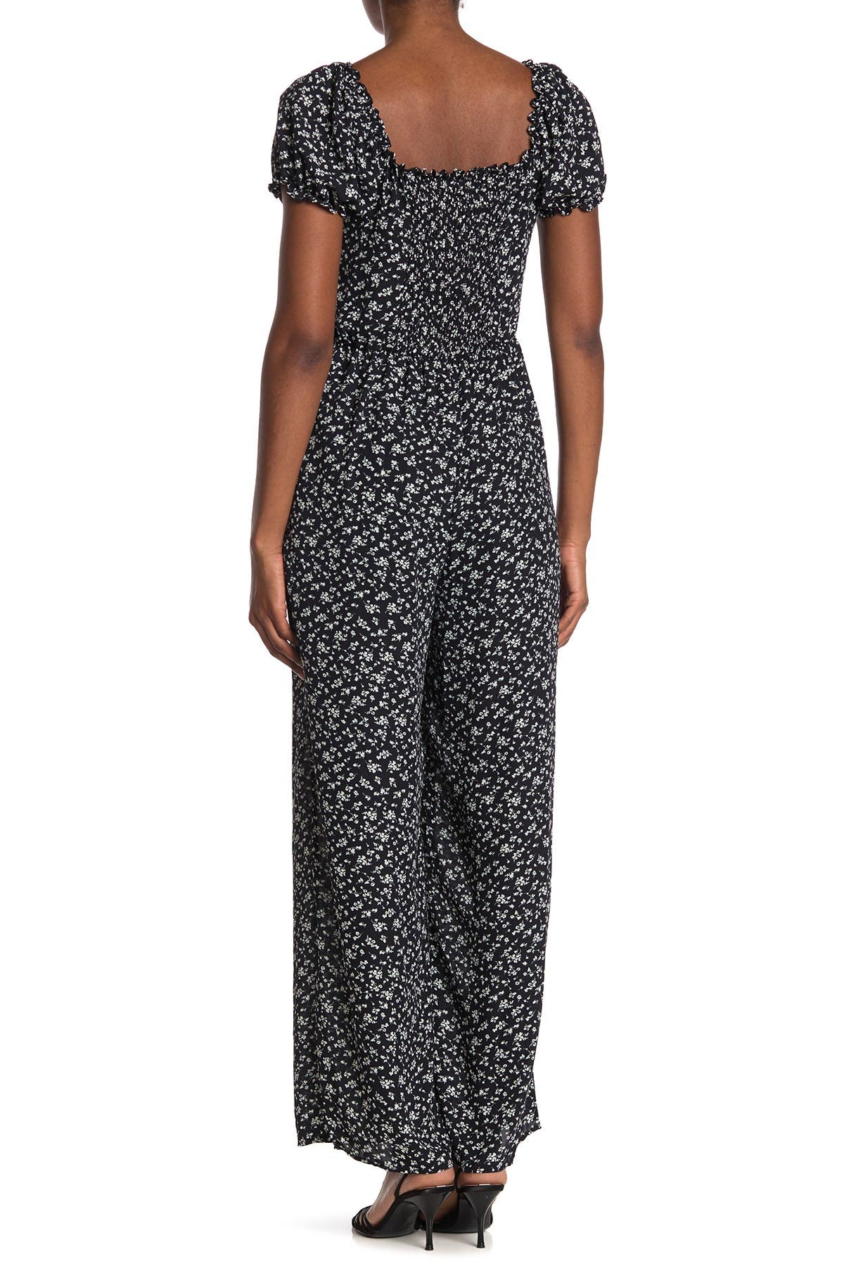 ROW A Ditsy Floral Puff Sleeve Jumpsuit