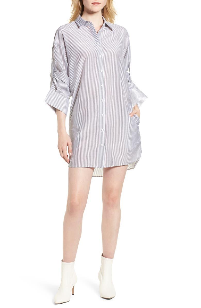 TROUVÉ Stripe Cotton & Silk Shirtdress, Main, color, 020