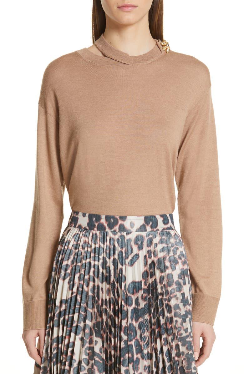 CALVIN KLEIN 205W39NYC Jewel Detail Cutout Wool & Silk Sweater, Main, color, 230