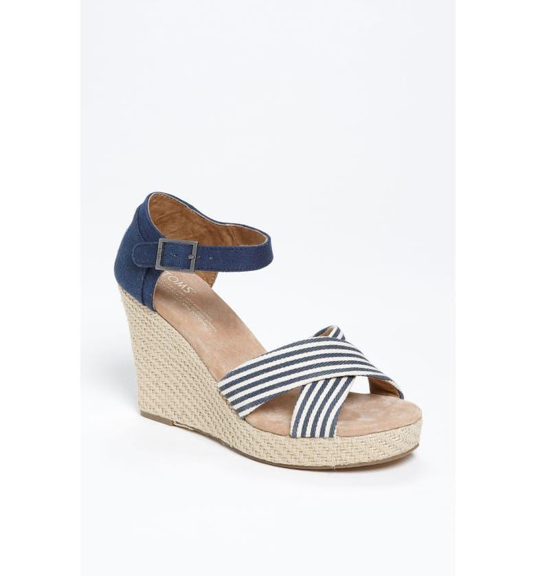 TOMS 'University Stripe' Wedge Sandal, Main, color, 418