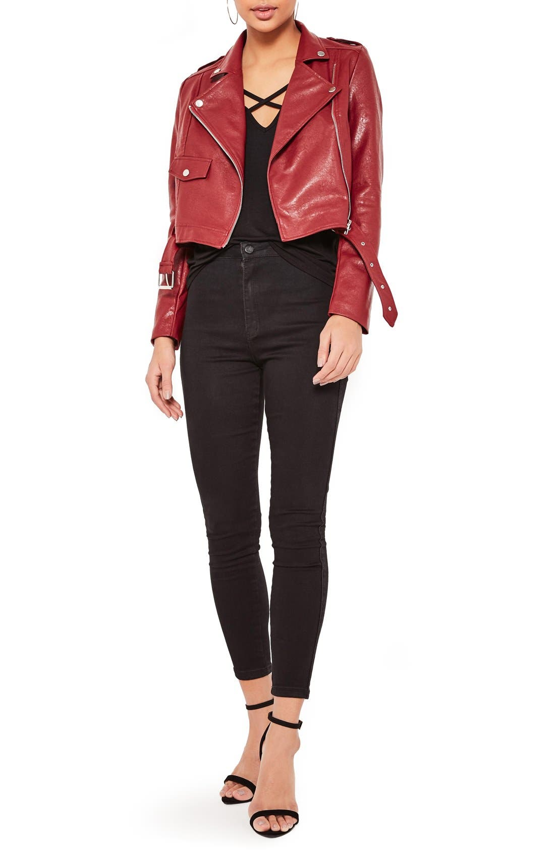 ,                             Faux Leather Moto Jacket,                             Alternate thumbnail 6, color,                             930