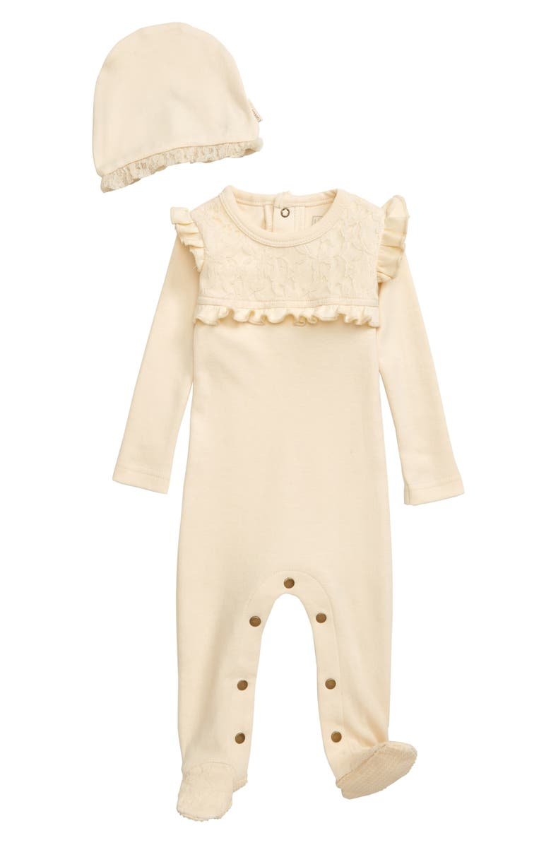 L'OVEDBABY Organic Cotton Lace & Ruffle Footie & Hat Set, Main, color, BEIGE