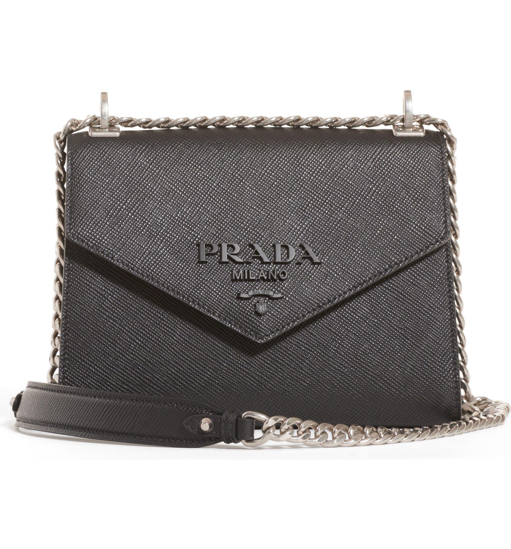 0f517ebe3915 Prada Monochrome Saffiano Leather Shoulder Bag | Nordstrom