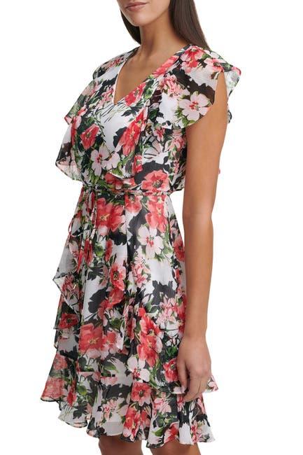 Image of Tommy Hilfiger Short Sleeve Carmen Floral Fit And Flare Dress