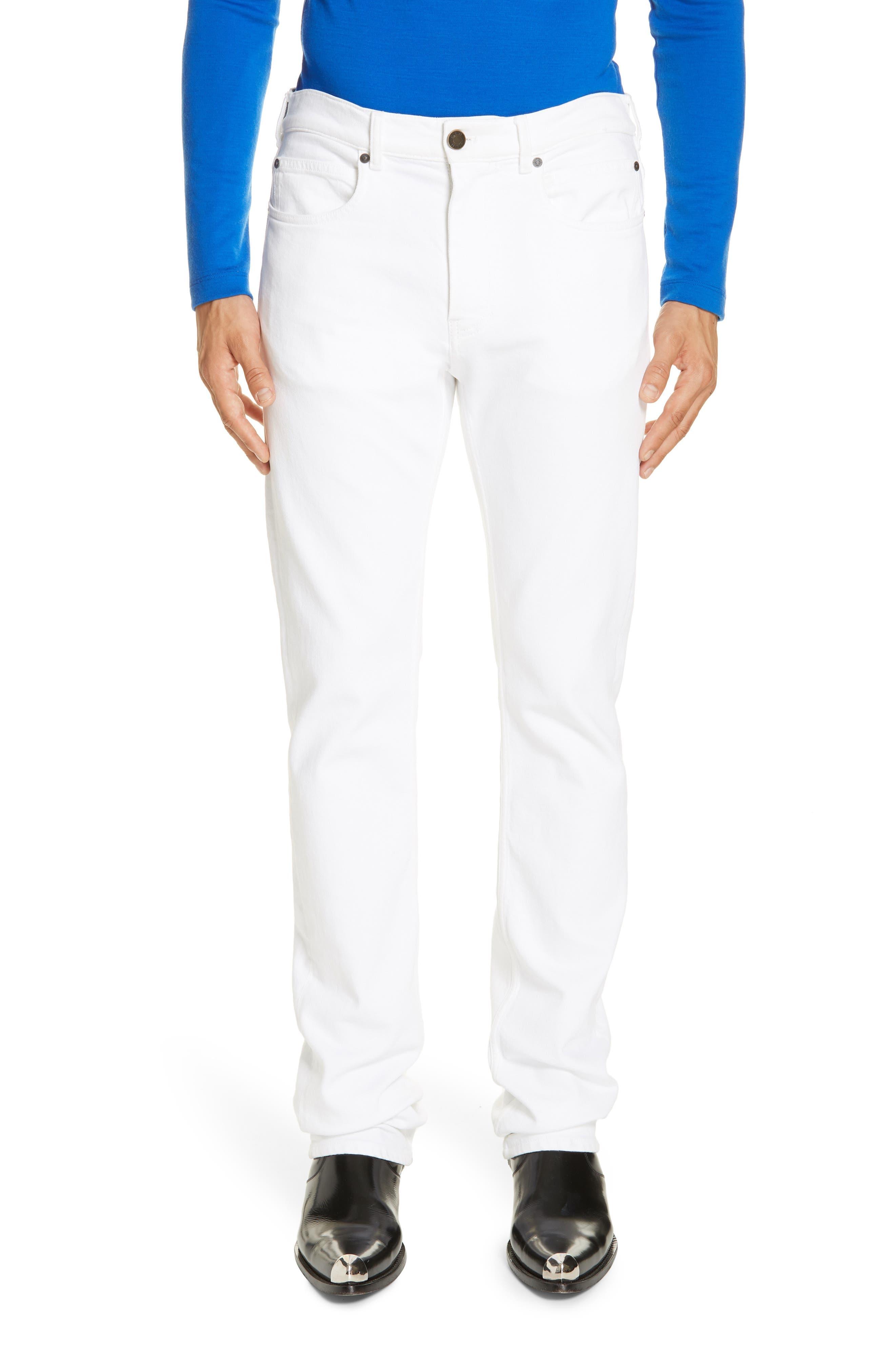 White Denim Pants, Main, color, OPTIC WHITE