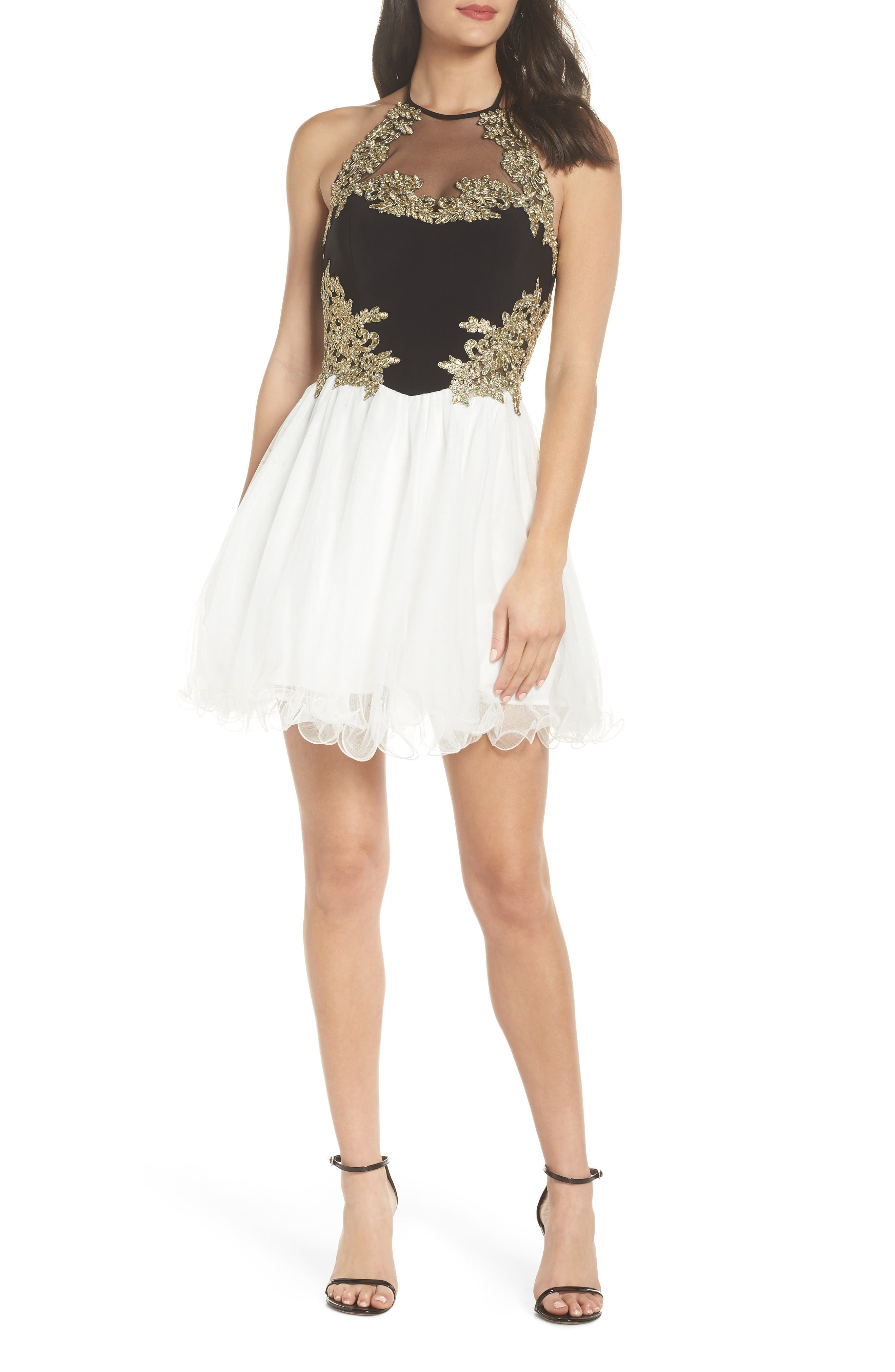 Blondie Nites Applique Bodice Fit & Flare Halter Dress, Black