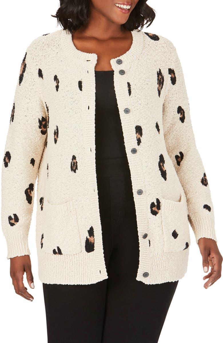 FOXCROFT Nikita Graphic Leopard Cardigan, Main, color, BISCOTTI