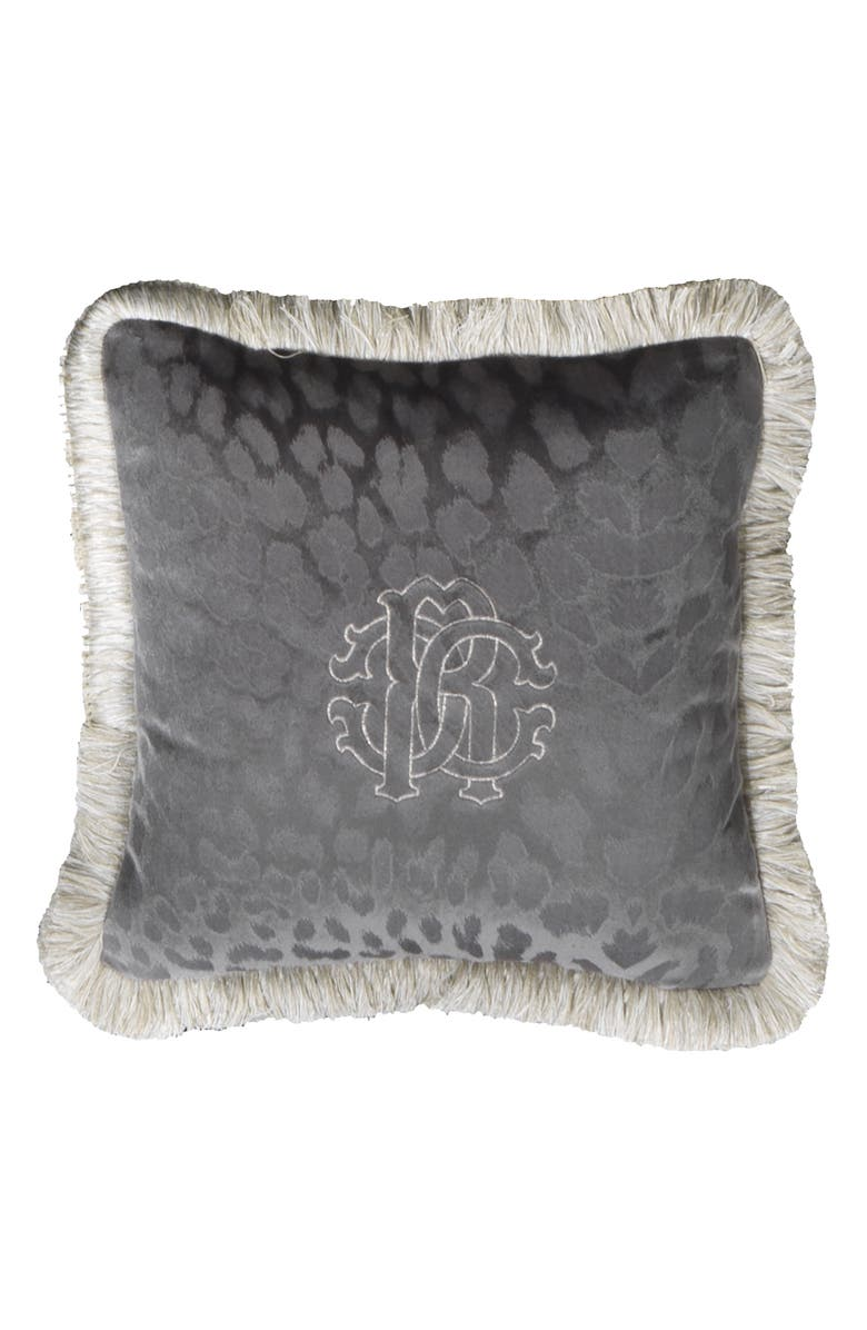 ROBERTO CAVALLI Logo Accent Pillow, Main, color, GREY