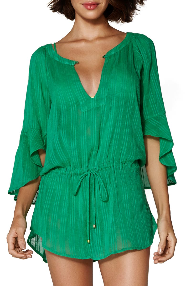 VIX SWIMWEAR Sprite Chemise Tunic Cover-Up, Main, color, GREEN SPRITE