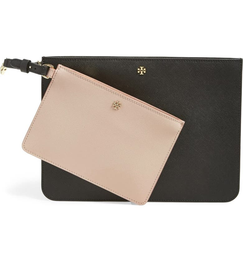 TORY BURCH 'York Duo' Leather Pouches, Main, color, 001