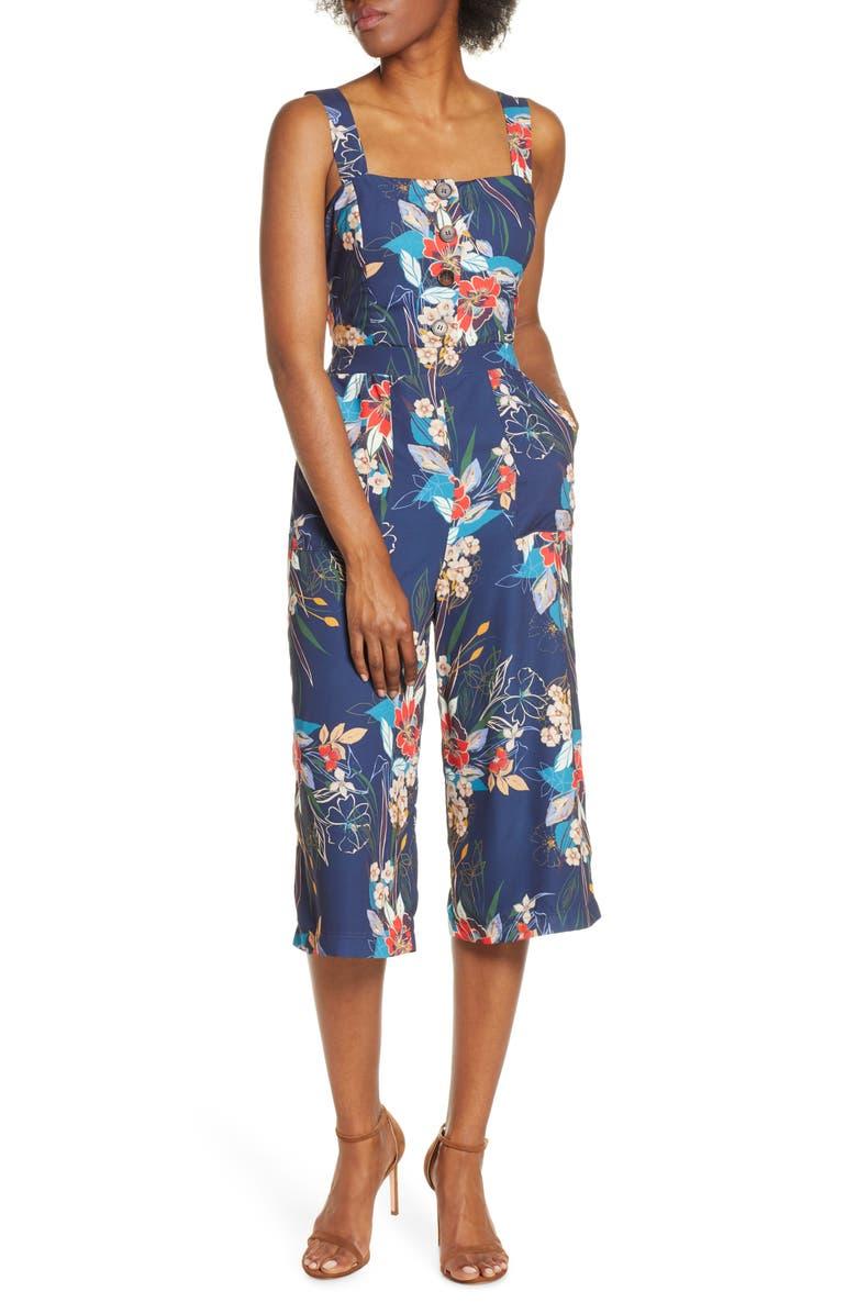 ADELYN RAE Stevie Print Culotte Jumpsuit, Main, color, 410