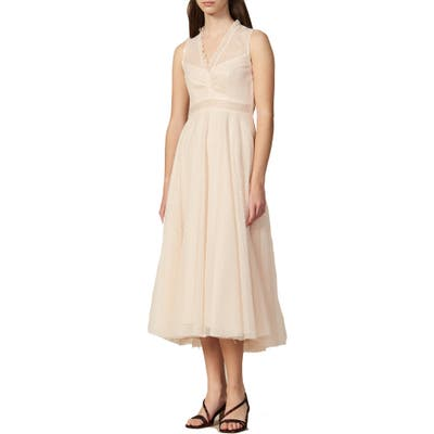 Sandro Cassy Lace Midi Dress, 8 FR - Beige