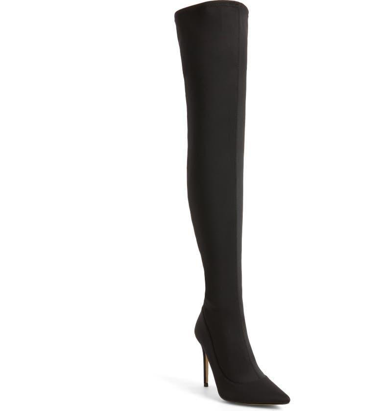TOPSHOP Bellini Stiletto Over the Knee Boot, Main, color, 001