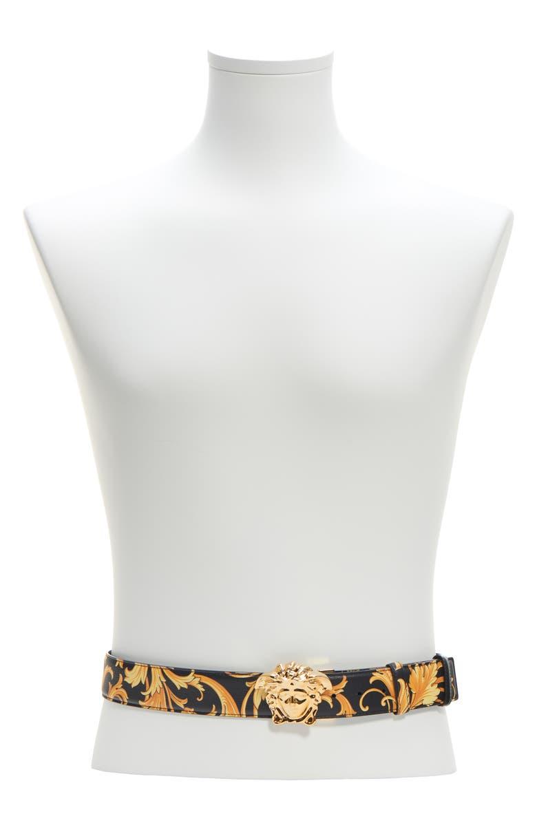 VERSACE Medusa Baroque Leather Belt, Main, color, BLACK GOLD-BLACK-WARM GOLD