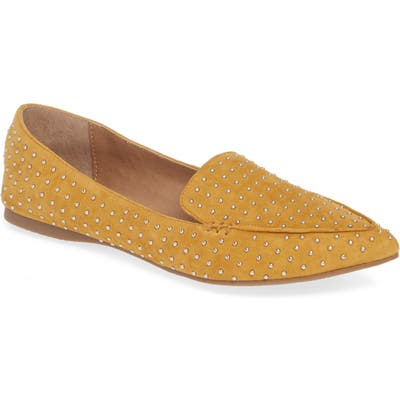 Steve Madden Feather Studded Loafer, Yellow