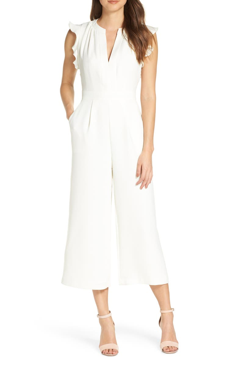 VINCE CAMUTO Ruffle Wide Leg Crop Jumpsuit, Main, color, IVORY