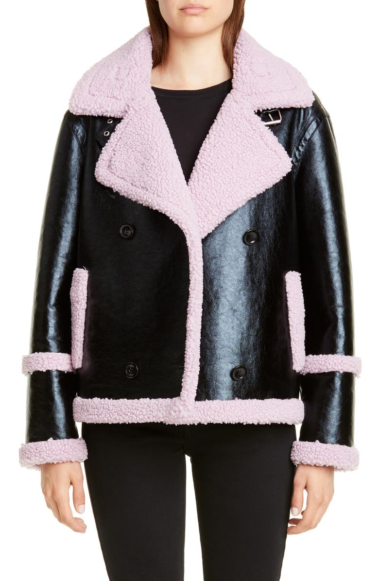 STAND STUDIO Lilly Colorblock Faux Shearling Jacket, Main, color, BLACK/ LIGHT VIOLET