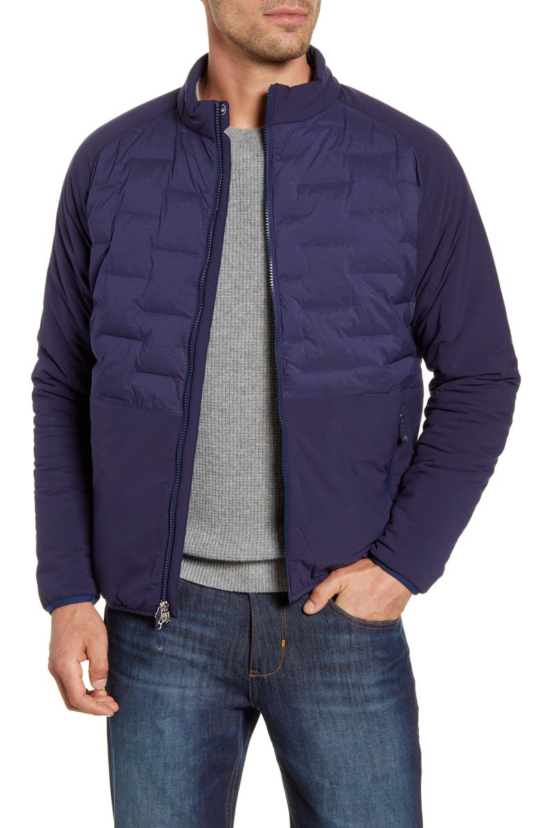 PETER MILLAR Blaze Stretch Panel Quilted Jacket, Main, color, NAVY