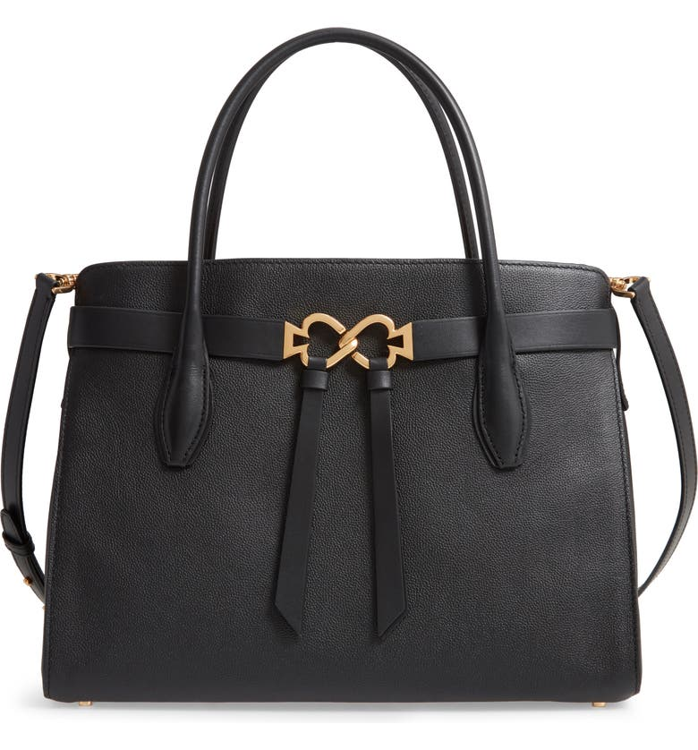 KATE SPADE NEW YORK large toujours leather satchel, Main, color, BLACK