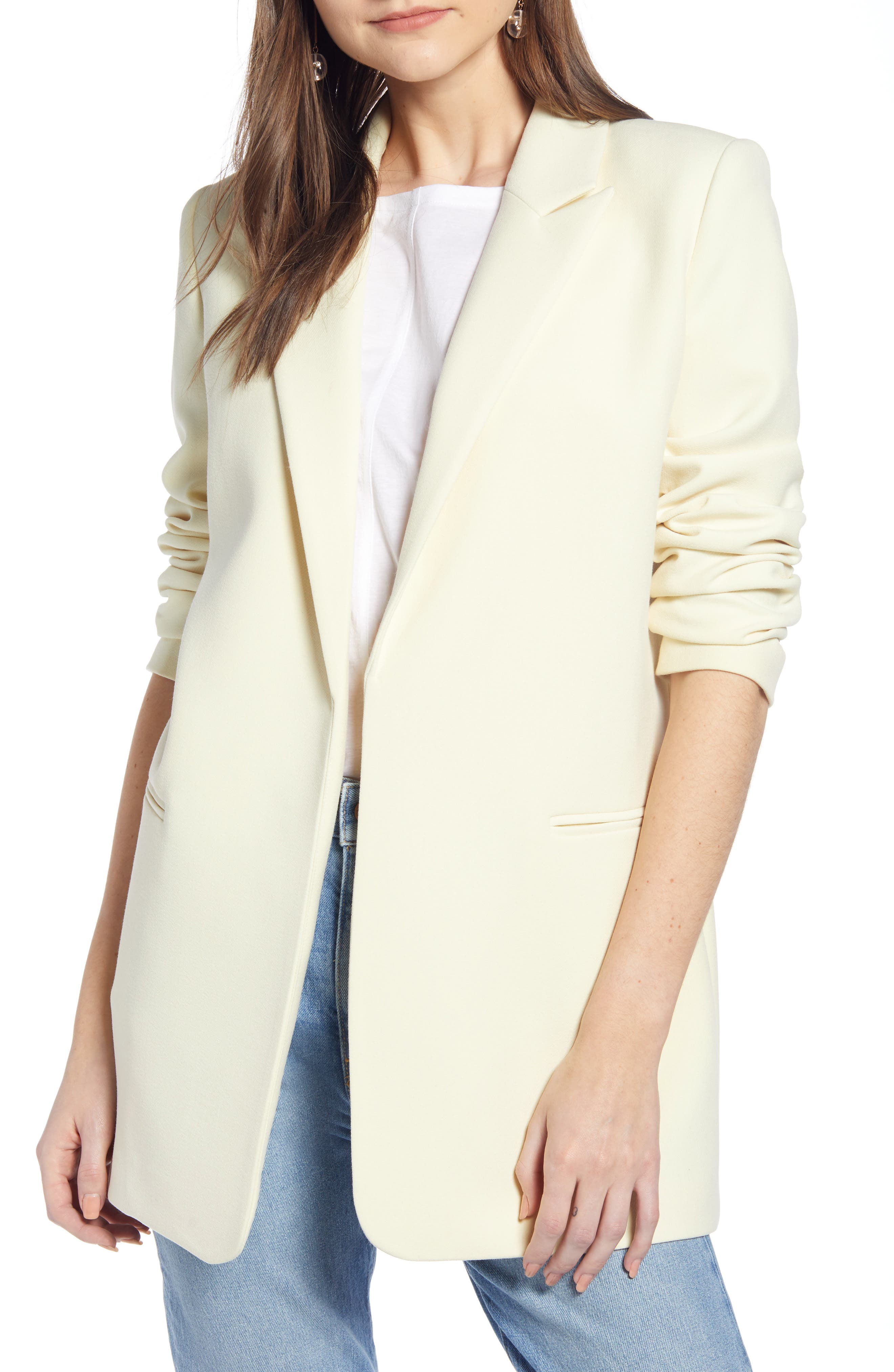 ,                             Easy Clean Blazer,                             Main thumbnail 1, color,                             YELLOW FROST