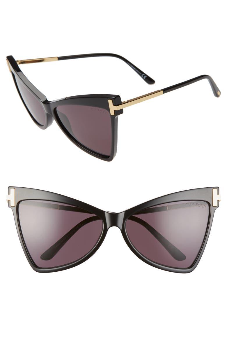 TOM FORD Tallulah 61mm Cat Eye Sunglasses, Main, color, 001