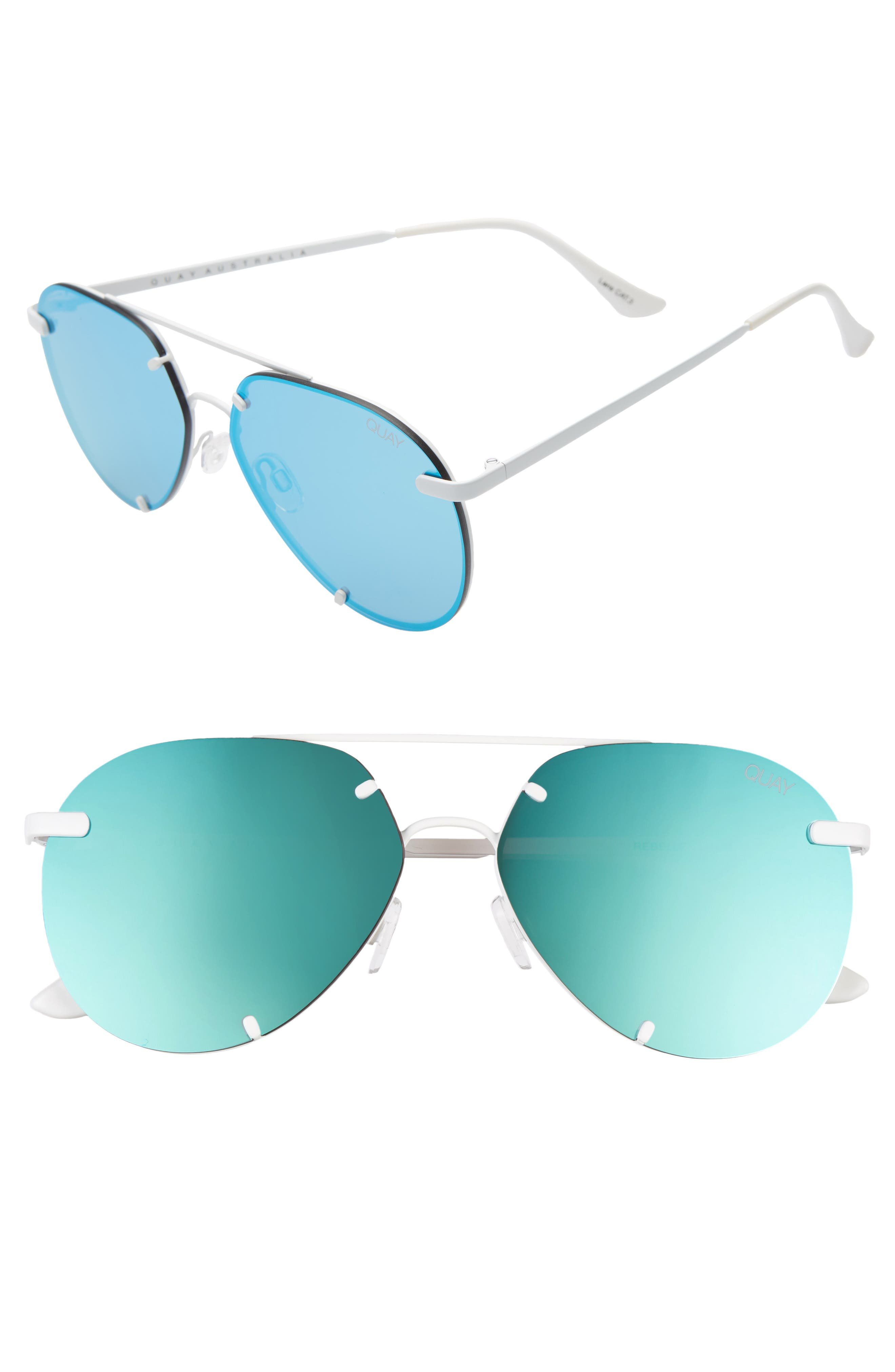 Quay Australia Rebelle 60Mm Aviator Sunglasses - White/ Blue