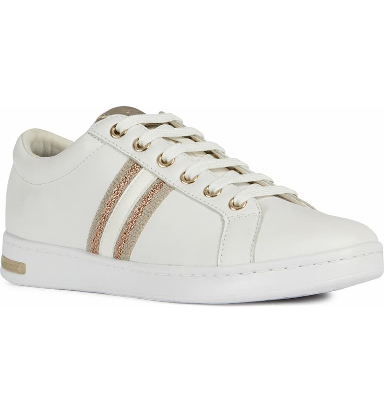 GEOX Jaysen Sneaker, Main, color, WHITE/ ROSE GOLD LEATHER