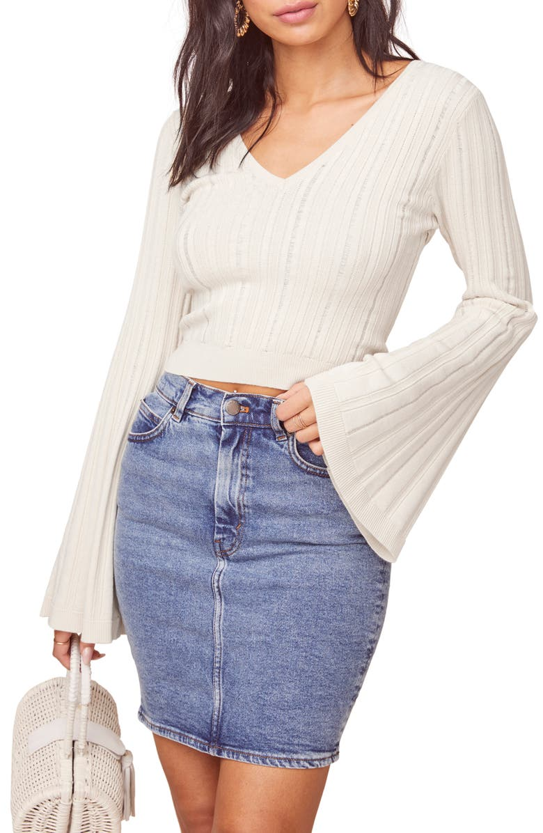 ASTR THE LABEL Voyage Crop Sweater, Main, color, WHITE