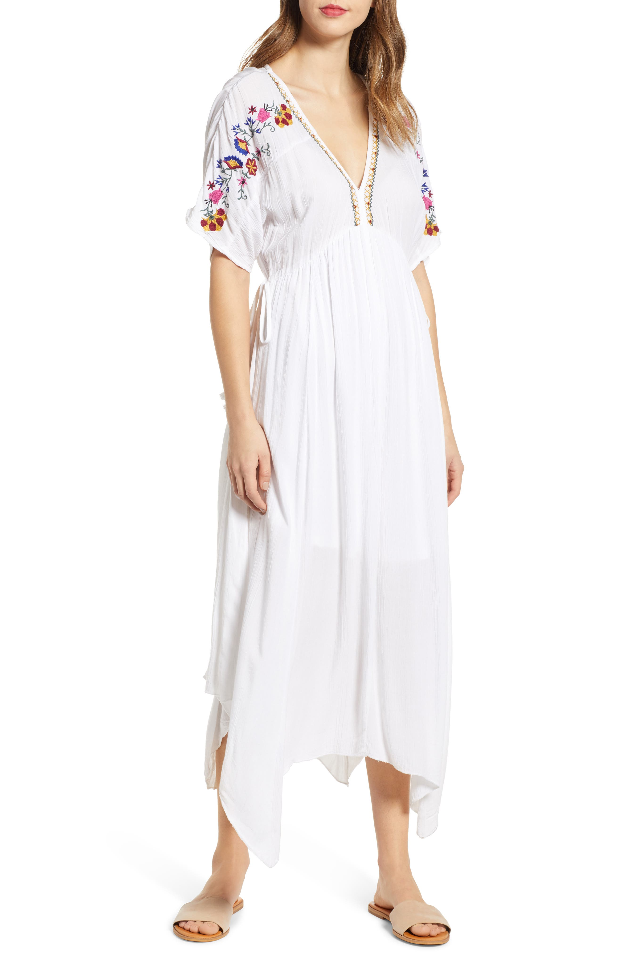 Band Of Gypsies Cuba Embroidered Midi Dress, Ivory