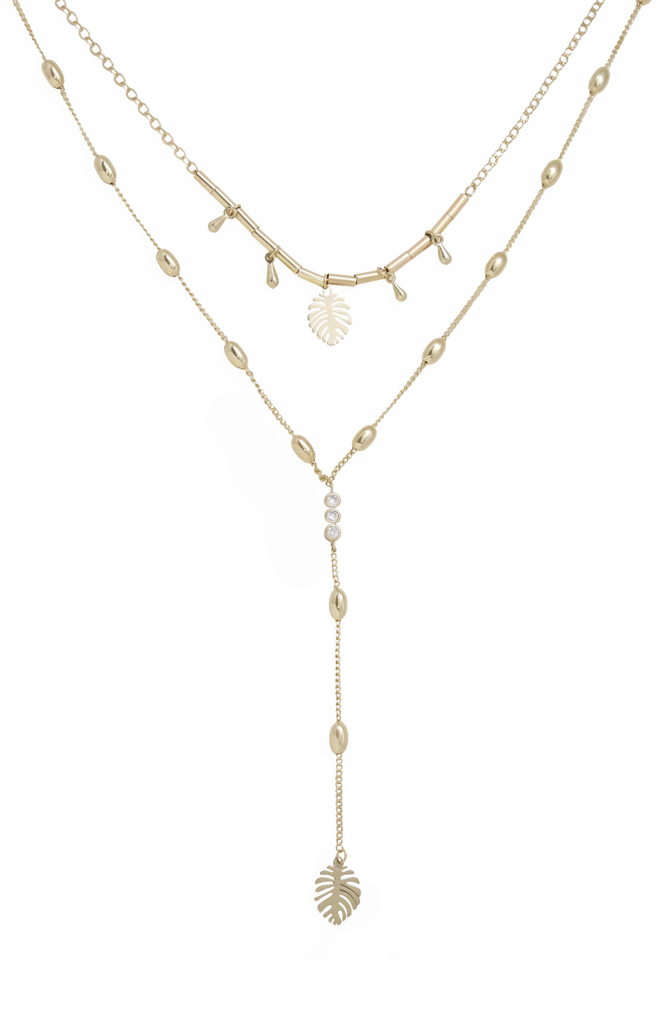 Layered Palm Lariat Necklace