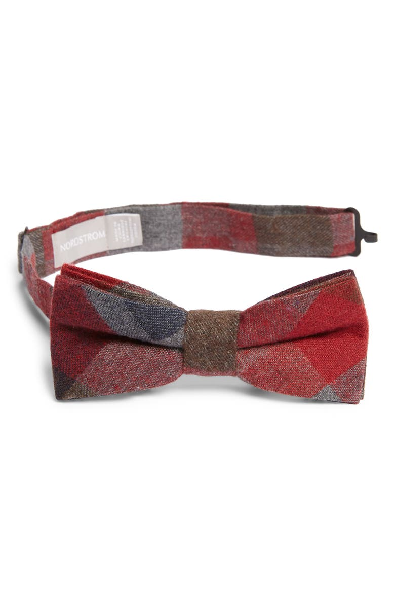 NORDSTROM Paxton Plaid Cotton Bow Tie, Main, color, RED