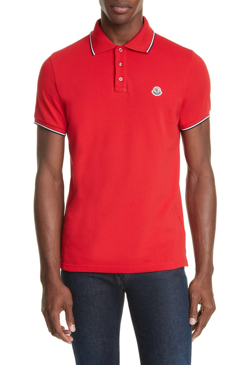 MONCLER Tipped Solid Short Sleeve Piqué Polo, Main, color, DARK RED