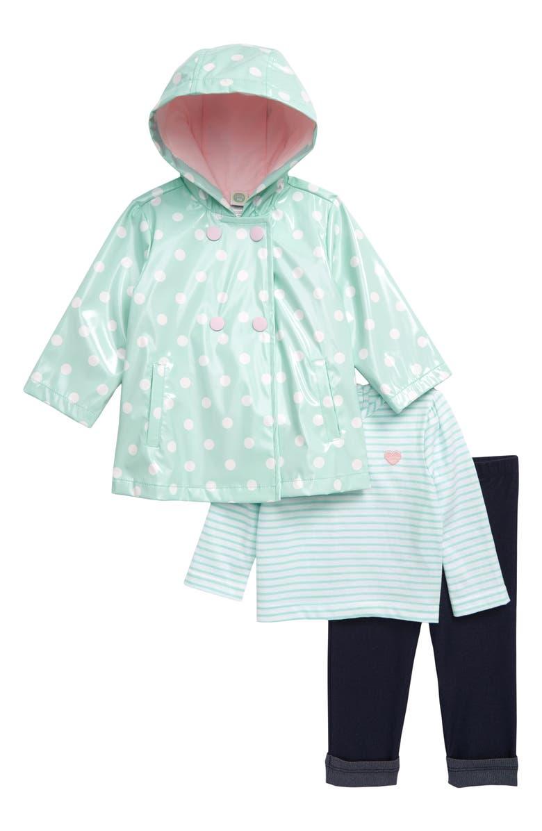 LITTLE ME Polka Dot Rain Jacket, T-Shirt & Leggings Set, Main, color, AQUA